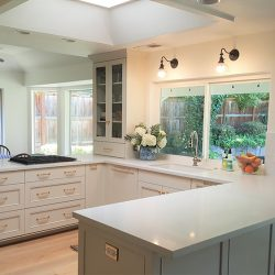 Fresno kitchen renovation with white custom cabinetry and white countertops