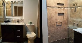 Bathroom with brown vanity and tiled shower