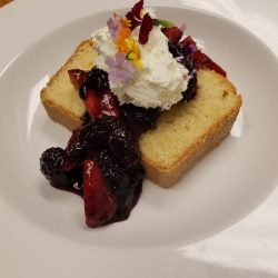 Pound Cake with fruit - Joy Tree Vegan and Vegetarian Restaurant in El Paso