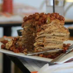 Stack of whole wheat pancakes - Joy Tree Vegan and Vegetarian Restaurant in El Paso