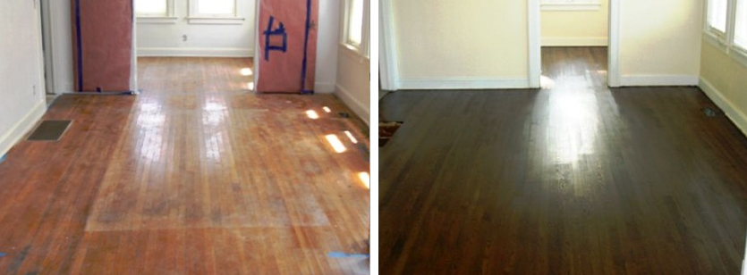 Before and after refinishing of a hardwood floor