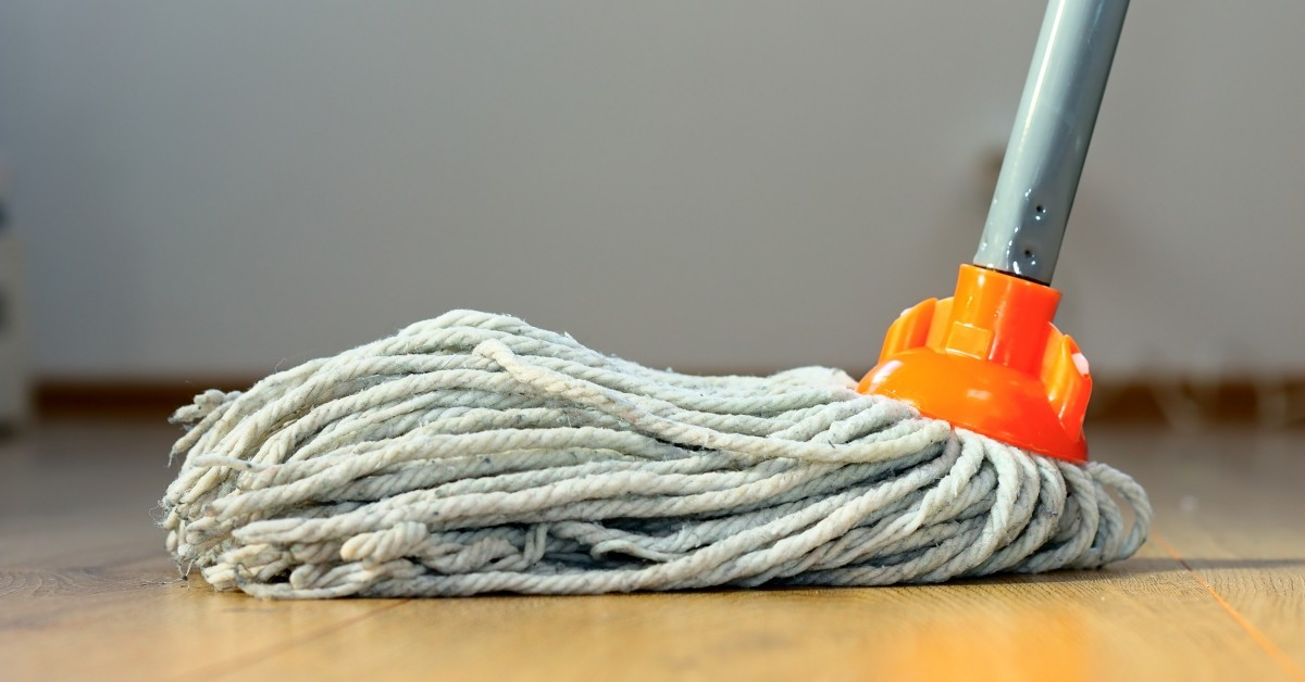Image of Mop on Hardwood Floor
