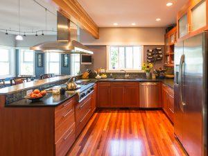 Spacious, contemporary upscale home kitchen interior.