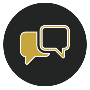 gold overlapping chat bubbles icons