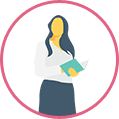 Woman with book icon
