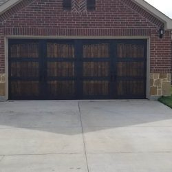 Wooden Garage Door on Brick House