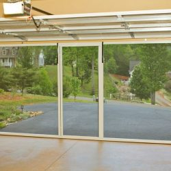 Double-Bay Garage Door Screen System, Lowered