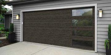 Dark, Modern Wooden Garage Door