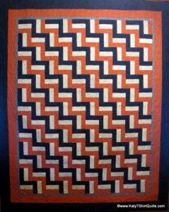 Signature Rail Fence Quilt - I made the squares to be signed at a wedding reception and then they were returned to me to complete the quilt. The white areas having signatures on them.