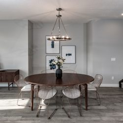 Mid-century modern dining room with circle table and buffet stand - Kay2 Contracting