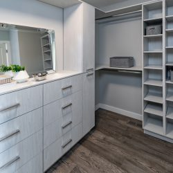 Closet renovation with gray cabinets and wood floors - Kay2 Contracting
