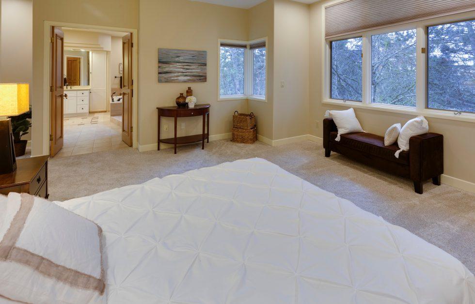 Bedroom leading into bathroom
