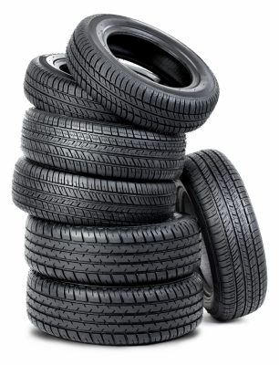 Image of spare tires stacked up