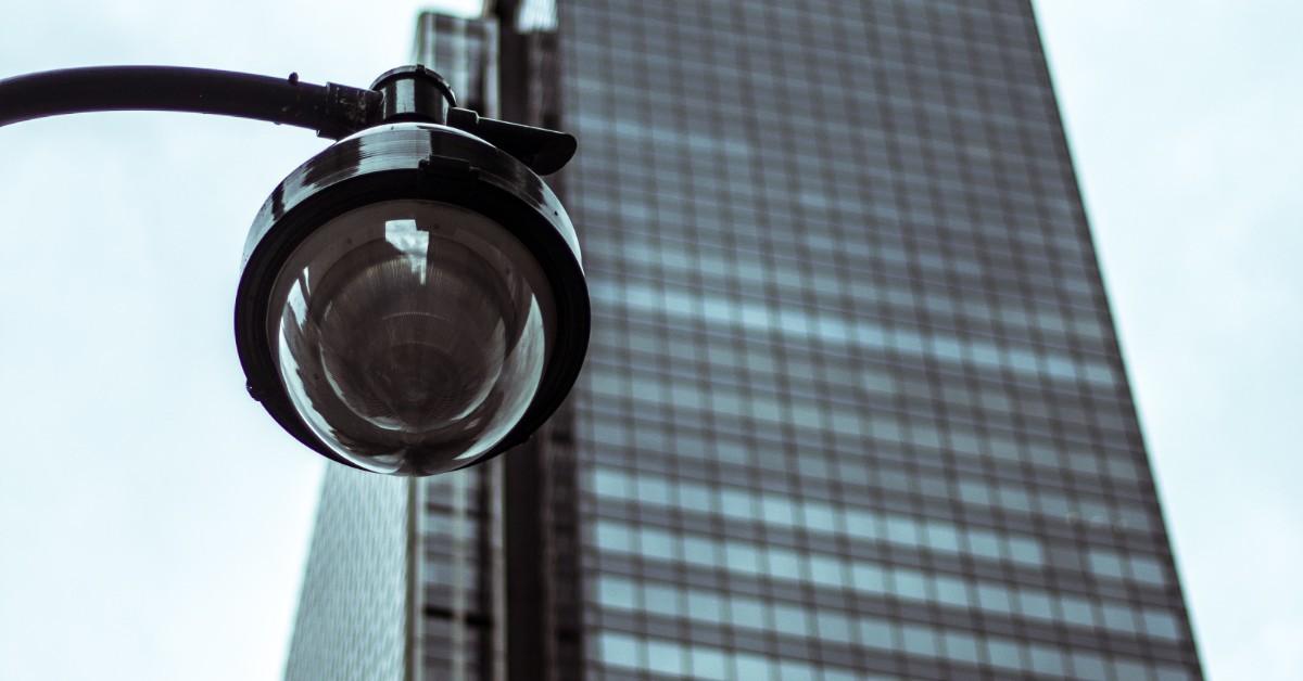 outdoor surveillance camera on skyscraper