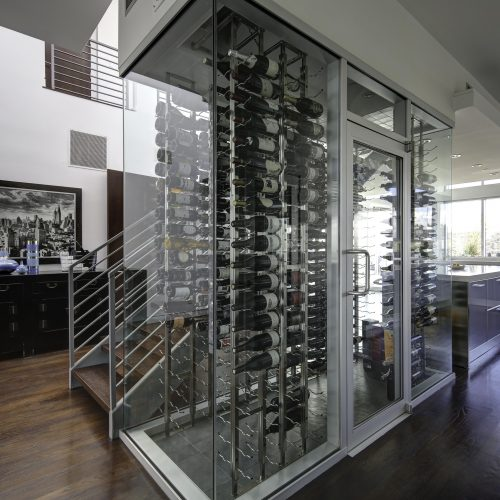 Professional photo of a modern wine cellar in a Los Angeles home - Keeprshots