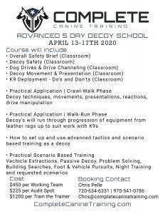 Complete Canine Decoy School Flyer