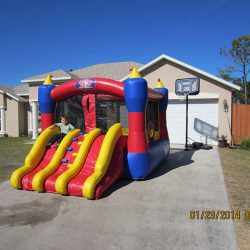 Bounce House With Triple Slides