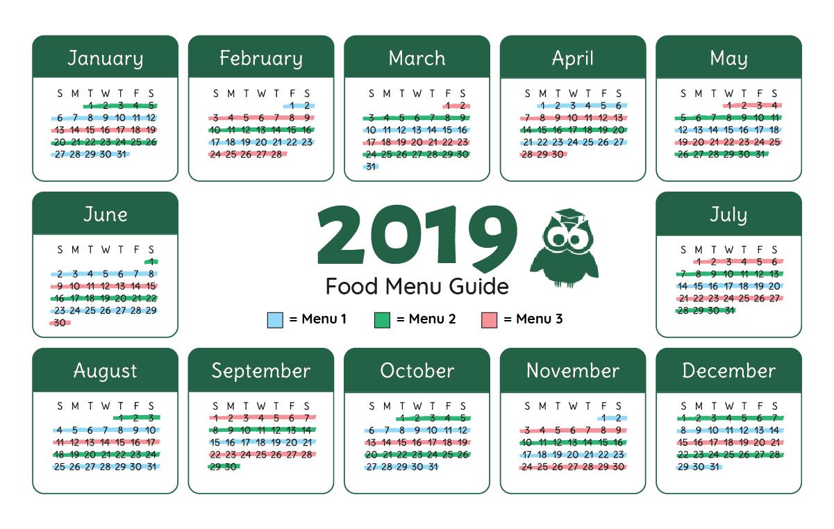 Kids Scholars Academy Calendar Menu
