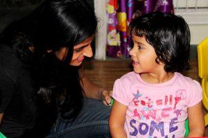 parent talking to child about preschool