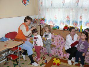preschool teachers with kids