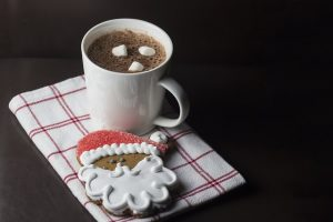 Santa cookie and hot chocolate