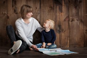 parent talking to kid
