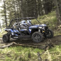 Guests riding in an ATV through the forest