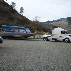 A truck towing the Killgore Adventures Jetboat