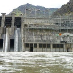 the dam from the boat