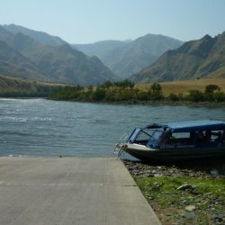 the jet boat with hells canyon in the background