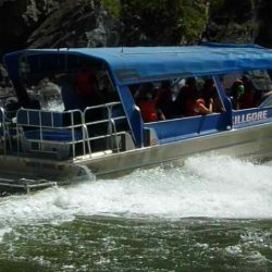 the back view of the jet boat