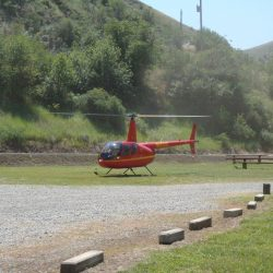 A helicopter at the camping ground in Killgore