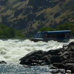 The jet baot going through the rapids