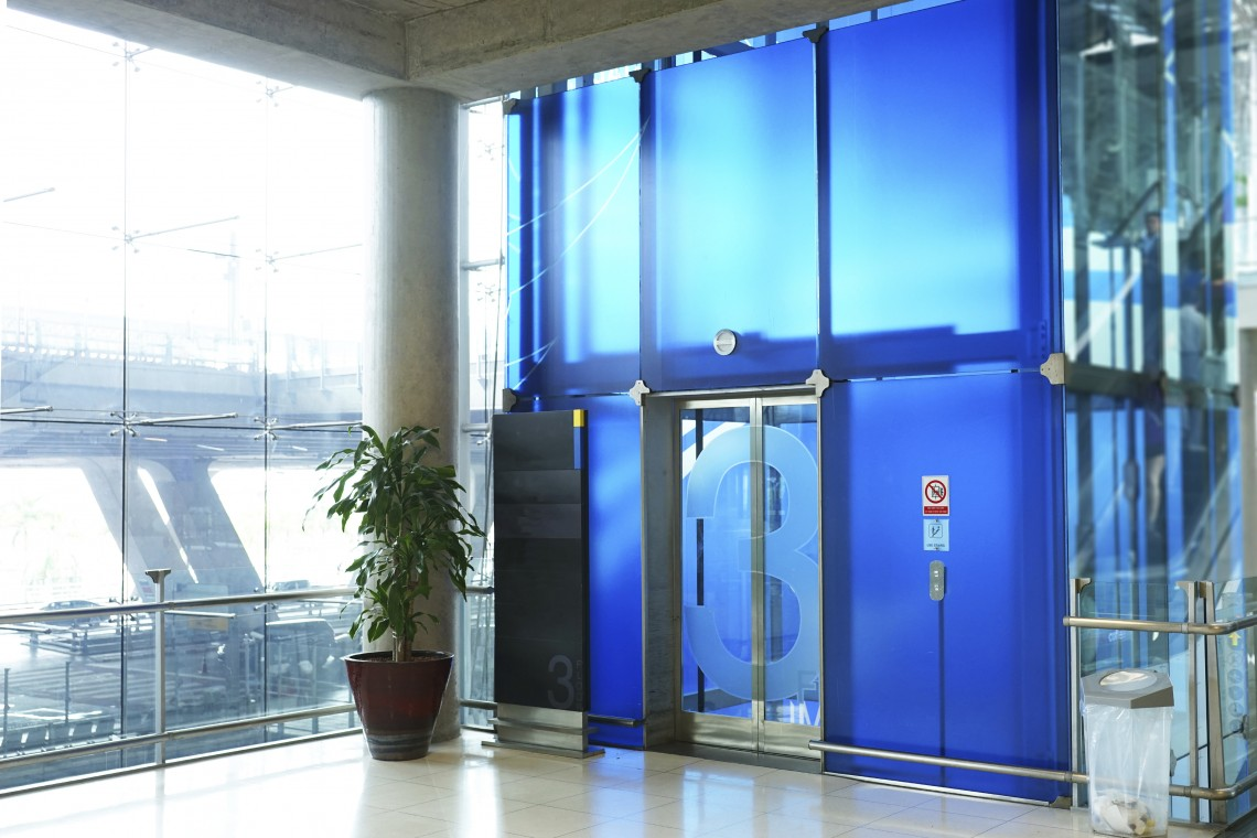 The modern elevator in the airport terminal