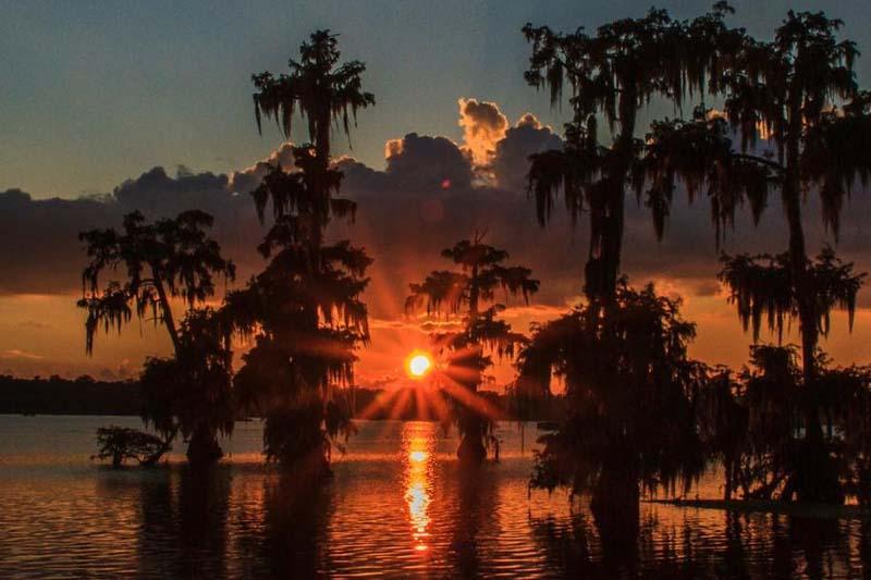 Louisiana Sunset Over Water