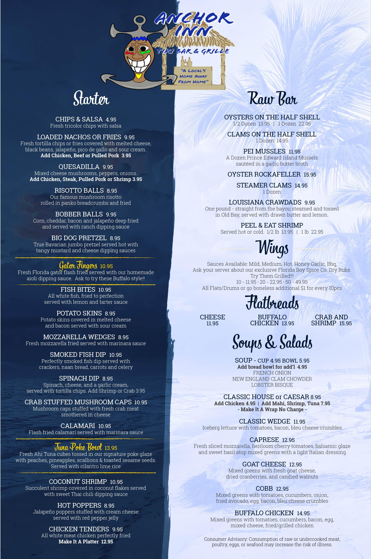 Anchor Inn - Tiki Bar - Grille - Menu 1