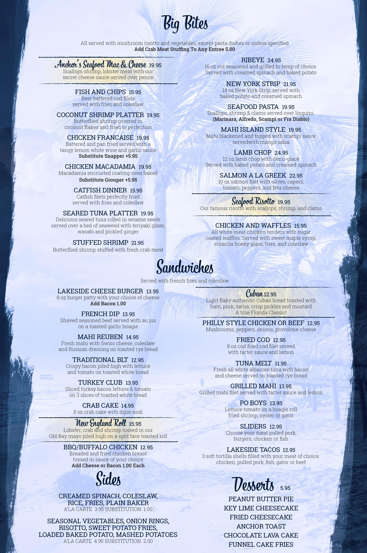Anchor Inn - Tiki Bar - Grille - Menu 2