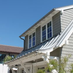White Gutters With Rain Chains
