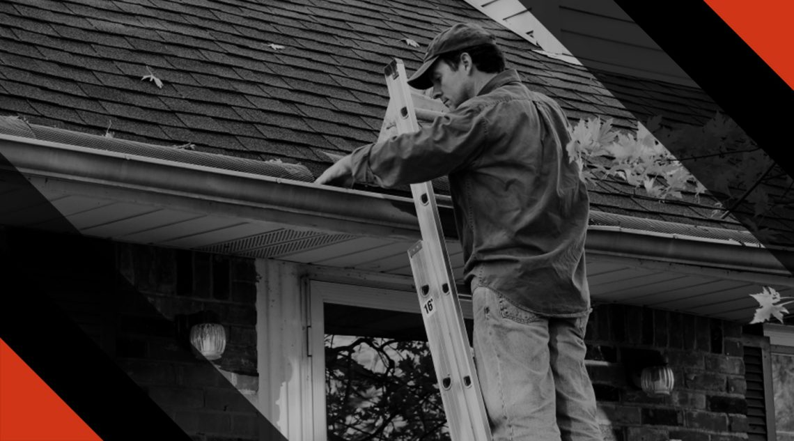 Worker Cleaning Leaves From Gutters Banner