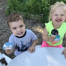 Enjoying cool treats on a hot day at our toddler care center in Rosemount