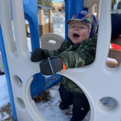 Playing in the cold at our Rosemount toddler care center