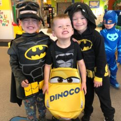 A picture of three pre-kindergarten children in costume - Leaps and Bounds