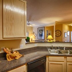 Apartment kitchen with updated countertops that opens into living room - The Legends Apartments
