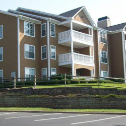The exterior of our apartment complex with balconies - The Legends Apartments