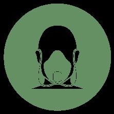 A green vector icon of a person wearing a sleep apnea mask.