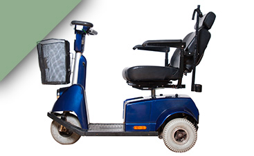 An empty mobility scooter in blue.