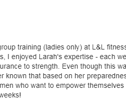 I just finished up the 6-week group training (ladies only) at Lift and Live Fitness. It was nice to meet and work out with women who want to empower themselves and others through exercise.