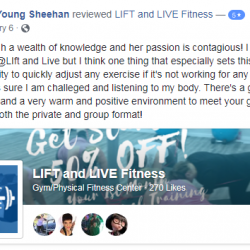 Larah has such a wealth of knowledge and her passion is contagious! I have a lot to praise about at Lift and Live Fitness but I think one thing that especially sets this gym apart is Larah's ability to quickly adjust any exercise if it's not working for any reason.