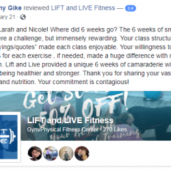 Lift And Live Fitness provided a unique 6 weeks of camaraderie with women focused on being healthier and stronger.