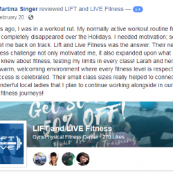 I needed motivation, something new to get me back on track. Lift and Live Fitness was the answer.